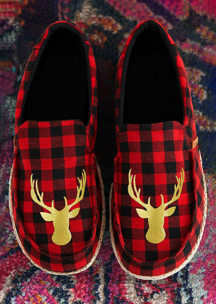 Christmas Reindeer Buffalo Plaid Slip On Flat Sneakers - Red