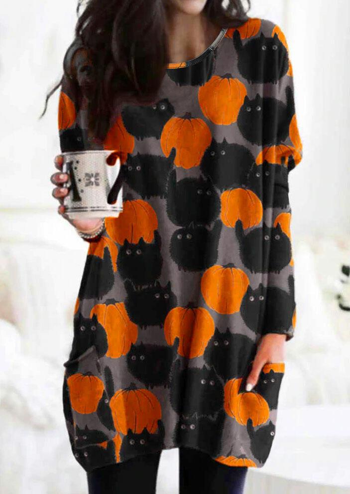 Halloween Black Cat Pumpkin Pocket O-Neck Mini Dress