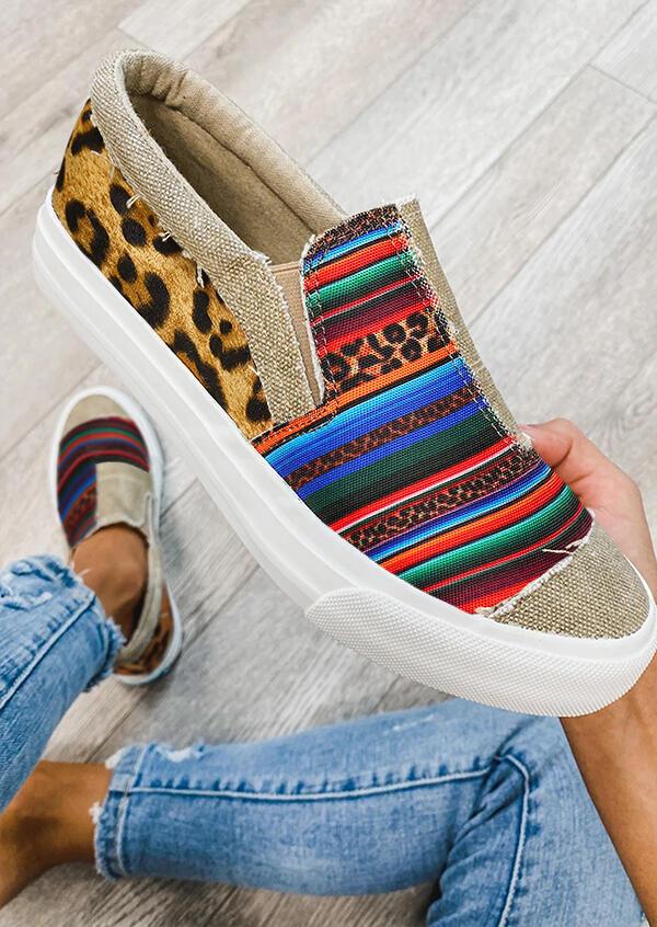 Leopard Serape Striped Splicing Flat Canvas Sneakers