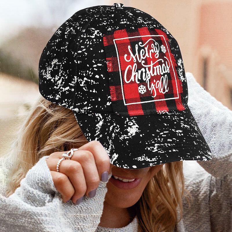 Buffalo Plaid Tie Dye Merry Christmas Y'all Baseball Cap