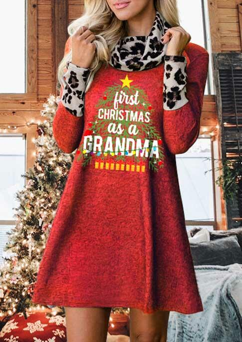 First Christmas As A Grandma Leopard Turtleneck Mini Dress - Red