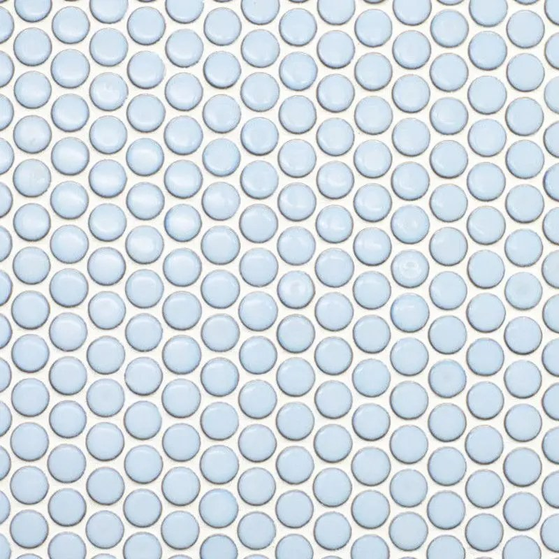 metro light blue penny round porcelain mosaic