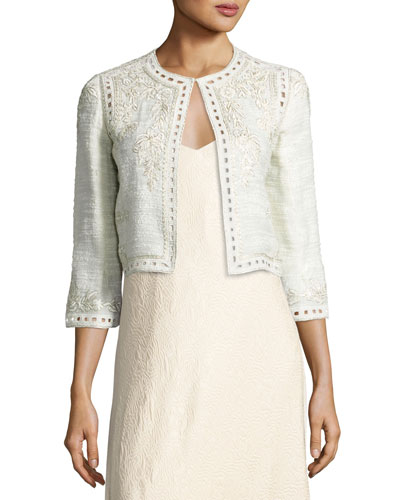 Embroidered Boucle Cropped Jacket, Gray