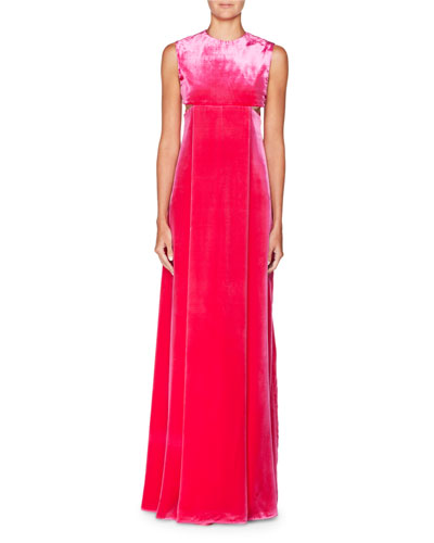 Sleeveless A-Line Velvet Evening Gown with Cutouts