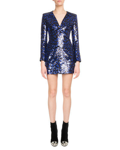 V-Neck Leopard-Print Sequin Mini Cocktail Dress