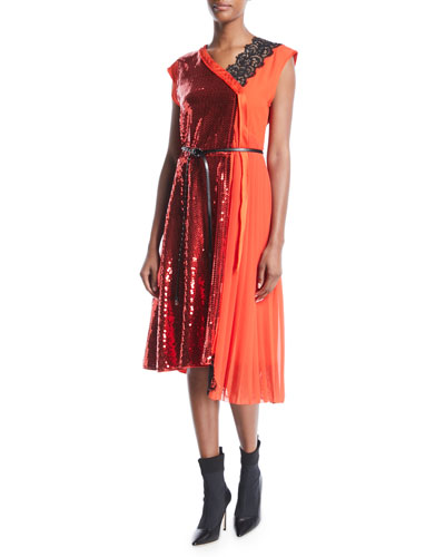 Sleeveless Mixed-Media Sequined Cocktail Dress w/ Leather Belt
