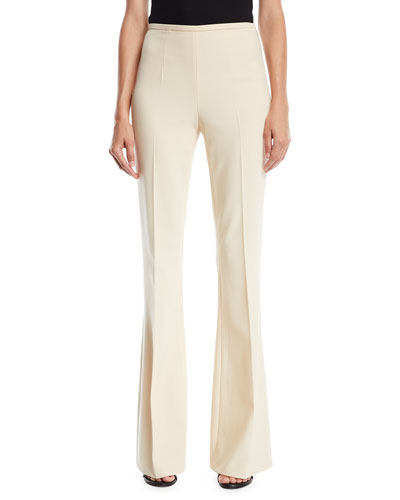 Side-Zip Flared-Leg Stretch Pebble Crepe Pants