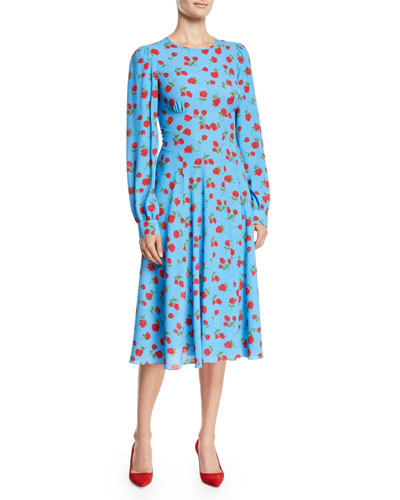 Long-Sleeve Rose-Print Silk Georgette Cocktail Dress