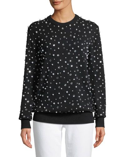 Long-Sleeve Crewneck Embellished Cashmere Sweater