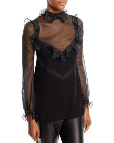 Long-Sleeve Organza Blouse with Lace Insets & Ruffled Frills
