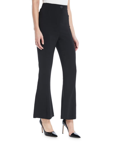 High-Waist Liquid-Cady Flared-Leg Pants w/ Button Detail