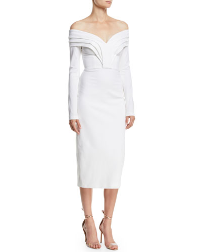 Off-the-Shoulder Long-Sleeve Pencil Cocktail Dress w/ Curved Panels
