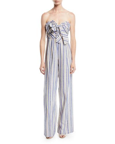4f5465dfddb32 Honolulu Bow-Top Striped Linen-Cotton Wide-Leg Jumpsuit