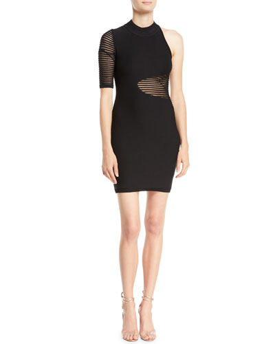 High-Neck One-Sleeve Ribbed-Sheer Detail Fitted Cocktail Dress