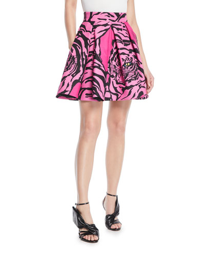 Panther-Print Flared Crepe Couture Mini Skirt
