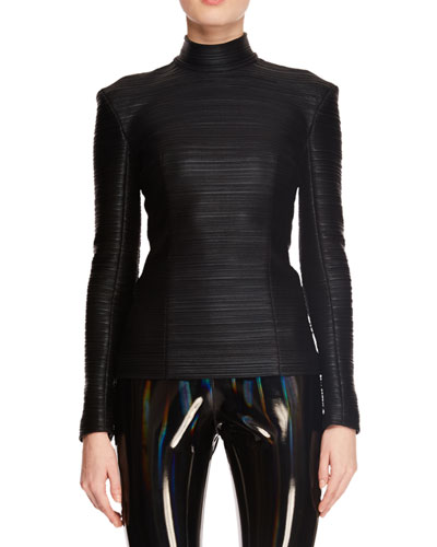 High-Neck Long-Sleeve Pleated Jersey Top