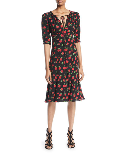 V-Neck Rose-Print Silk Georgette Dress