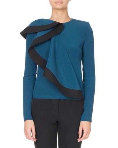 Asymmetric Ruffle-Front Sweater
