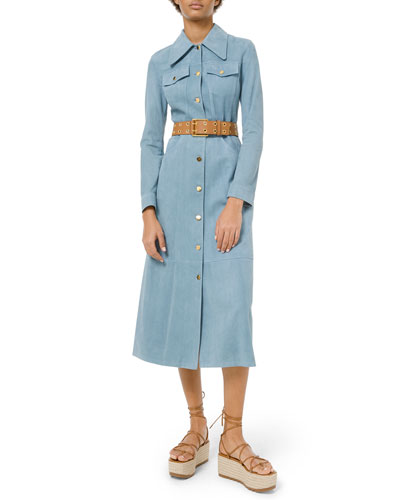 Heavy Suede Trench Coat Dress