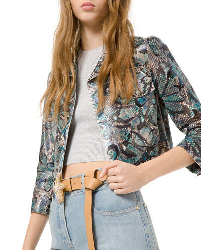 Floral-Painted Python Cropped Moto Jacket