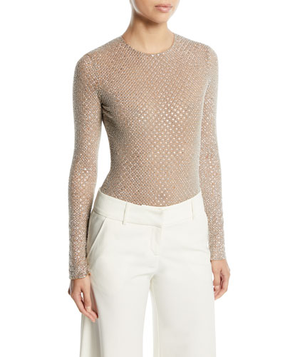 Long-Sleeve Embellished Stretch-Tulle Bodysuit