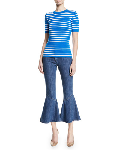 Crewneck Short-Sleeve Striped Stretch-Viscose Top and Matching Items