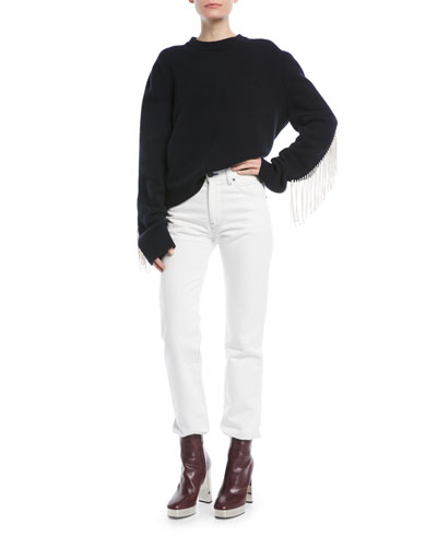 Crewneck Long-Sleeve Virgin-Wool Sweater w/ Fringe Detail and Matching Items