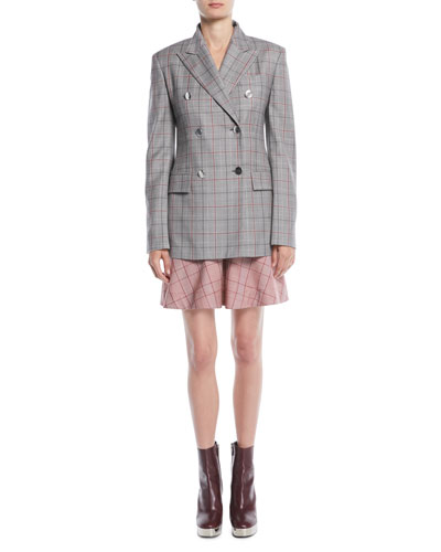 Double-Breasted Metal-Buttons Wool Blazer and Matching Items