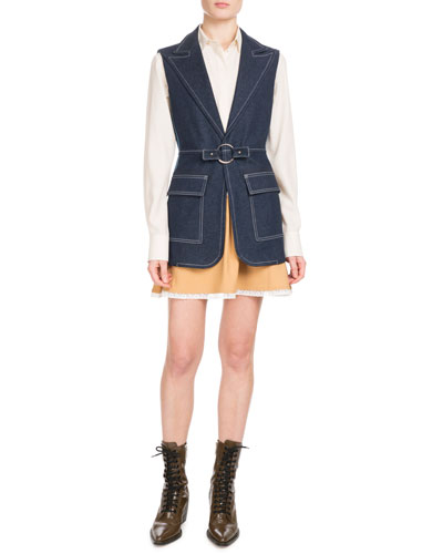 Peak-Lapel Two-Pocket Denim Vest and Matching Items