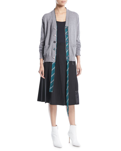 V-Neck Button-Front Wool Cardigan with Tie Placket and Matching Items