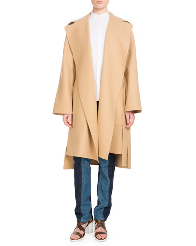 Notched-Collar Belted Wool-Blend Coat and Matching Items