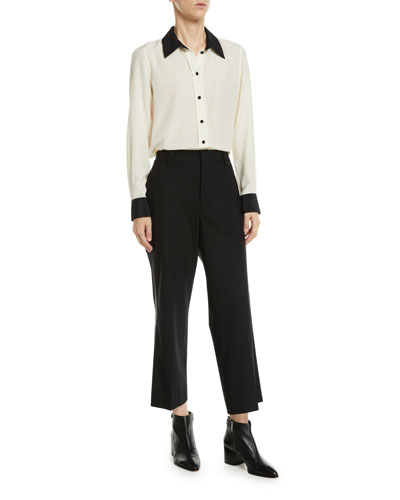 Long-Sleeve Button-Front Silk Top and Matching Items