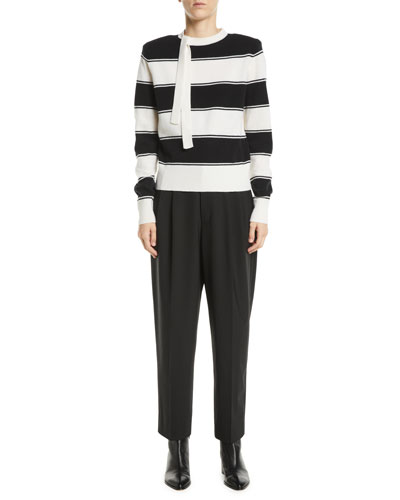 Tie-Neck Long-Sleeve Striped Wool Sweater and Matching Items