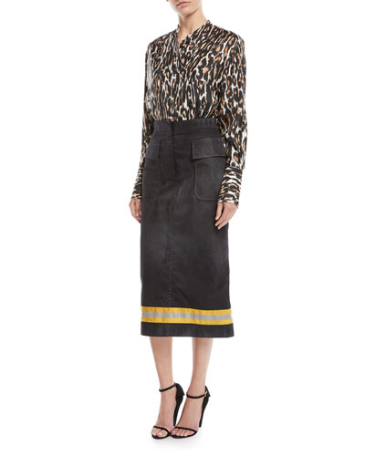 Long-Sleeve Button-Front Leopard-Print Silk Twill Blouse and Matching Items