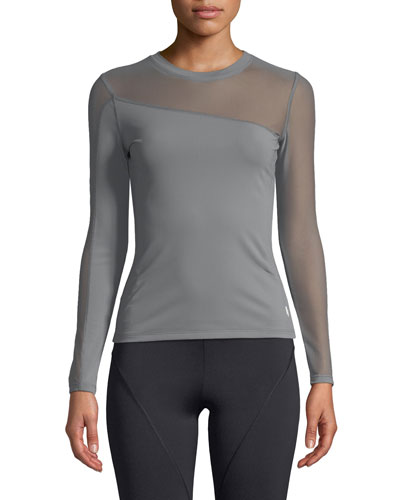 Long-Sleeve Crewneck Top with Mesh Panels