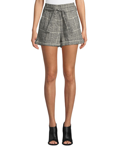 Michel High-Waist Belted Plaid Shorts