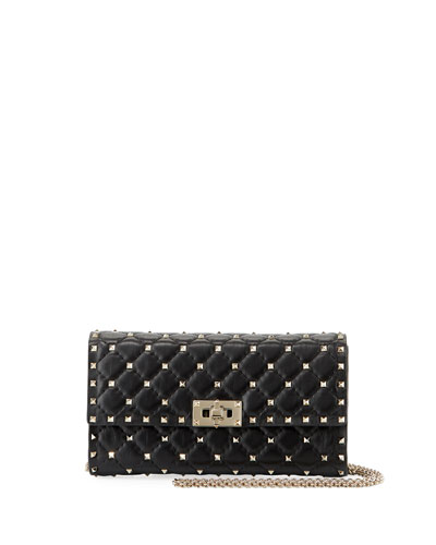 Rockstud Spike Quilted Napa Leather Wallet on Chain