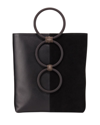 8ab931be2f Petra Mini Leather Suede Ring Tote Bag
