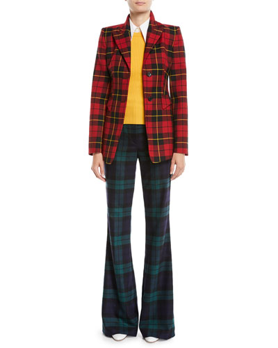 High-Waist Flared Tartan Wool Pants and Matching Items
