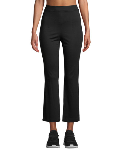 High-Waist Cropped Active Pants w/ Slit Sides