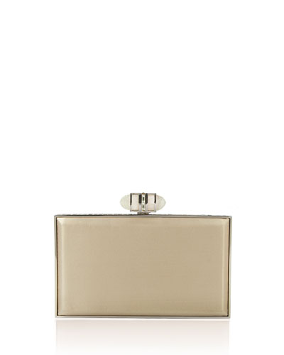 Satin Coffered Rectangle Clutch Bag, Champagne