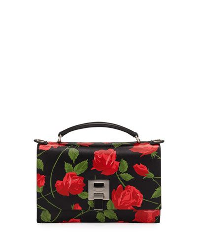 Stemmed Roses Leather Shoulder Bag