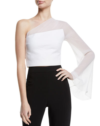One-Shoulder Sheer-Sleeve Cropped Top