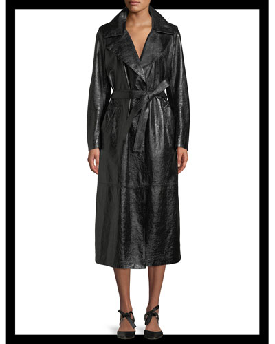 Tie-Waist Patent Lambskin Leather Long Trench Coat