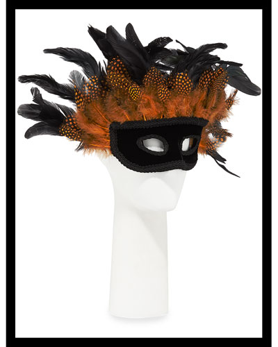 Wide Multicolored Feather Eye Mask