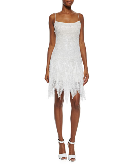 Naeem Khan Allover Beaded Fringe Skirt Dress