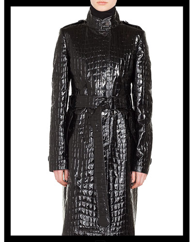 Stand-Collar Button-Front Crocodile Embossed Patent Faux-Leather Coat