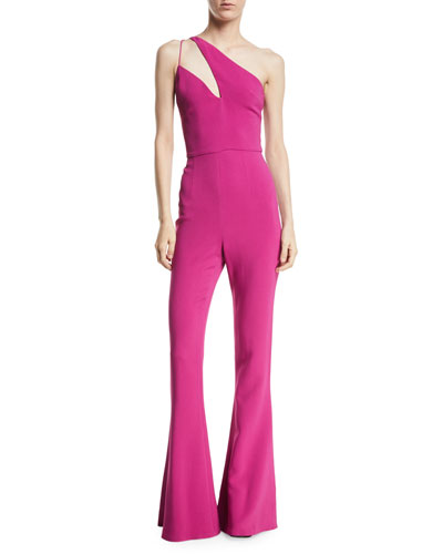 Stretch Cady Flare Jumpsuit w/ Asymmetric Cutout