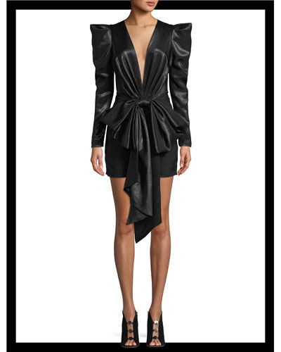 Exaggerated-Shoulder Bow-Waist Fitted Mini Cocktail Dress