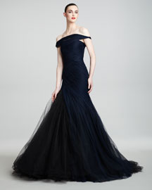 Monique Lhuillier Off-the-Shoulder Tulle Trumpet Gown
